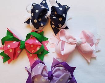 Boutique Hair Bows- Girl Hairbow- ToddlerHairbow- Infant Hairbow-  Navy Hairbow- Baby Pink Hairbow-  Purple Girl Hairbow