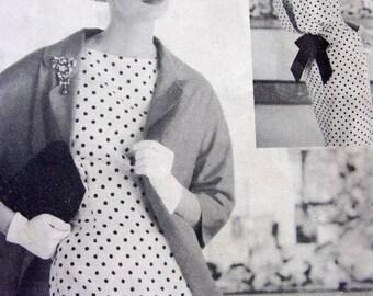 UNCUT * Vintage  VOGUE Couturier Original  Pattern 112 - STUNNING Sheath Dress w/ Back Detail & Clutch Coat - size 18 bust 38  + Vogue Label