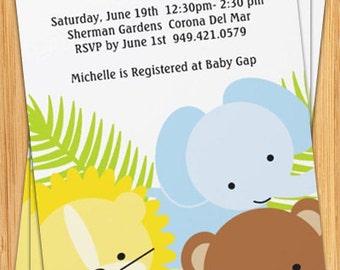 Cute Jungle Animals Custom Baby Shower Invitation