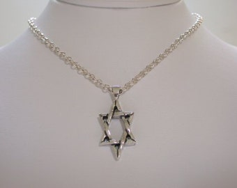 Modern Star of David Pendant Necklace on Rolo Chain Sterling Silver