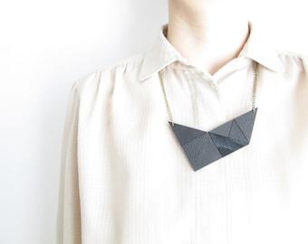 Black Leather Necklace Black geometric necklace black Statement necklace