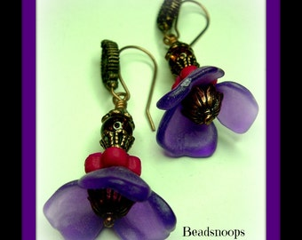 Purple passion and bronze flower dangles