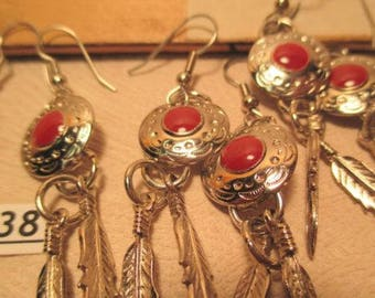 Coral Feather Silver Southwest Style Earrings