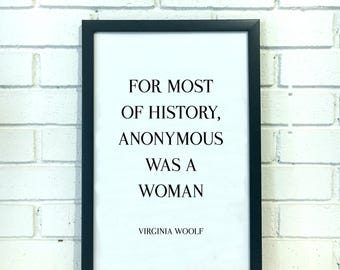 Virginia Woolf Quote Print Literary Print Feminist Poster Literary Poster Office Decor for Women Inspirational Wall Art Literary Gift