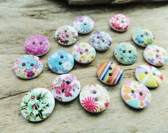 Pattern Wood Buttons, Supply Nature,Wood Accessory,Tiny Wrap Bracelet Buttons Sewing Knitting Add Lot of 10 Mix