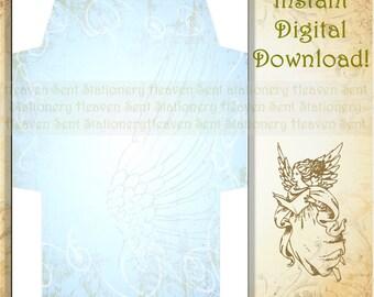 Blue Envelope, Angel Envelope, Printable Envelope, Digital Download Envelope, Digital Envelope, Envelope Page, Stationery Paper