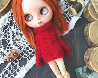 Sweater for Blythe. Knitted sweater for Blythe. Blythe doll. Custom Blythe.