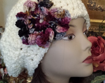 Winter hat with flower designed and made by petronella