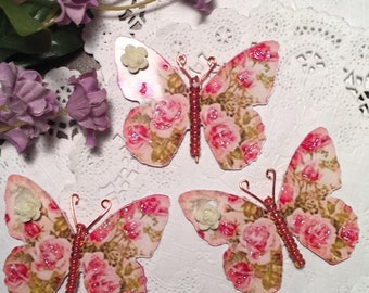 Comin Up Roses Rose Glass Bodies 3D Cream Roses Butterflies DarlingArtByValeri Scrapbooking Embellishment Mini Albums Cards Wedding Gifts