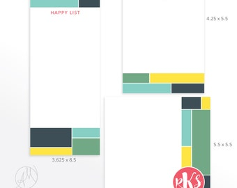 Custom Monogrammed Notepad Stationery Set, Personalized Desk Pad, Cute Colorful Note pad