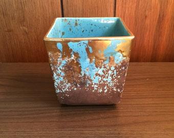 Midcentury Splatter Glaze Turquoise Gold Brown Planter