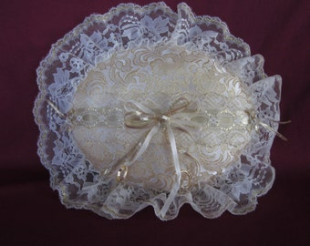 """Wedding ring pillow, gold brocade satin,ivory lace,oval,12""""x14"""""""