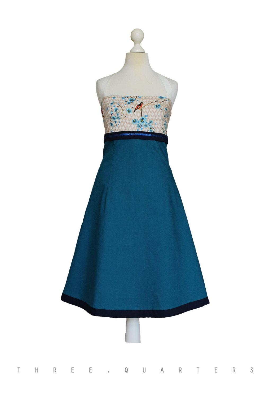 Kleid petrol blau Vögel Hochzeit Brautjungfer
