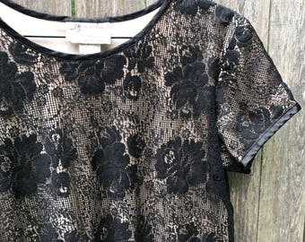 Black Lace Shift Smock Dress