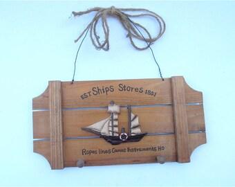 Vintage Boat Wood Key Holder Wall Hang Nautical Key Holder Boat Key Holder Ship Key Holder Wall Décor Wood Wall Hang Sailboat Wall Plaque