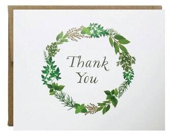 Herb Garden Wreath Thank You Card