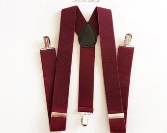 NEW Men's Suspenders, wide suspenders, 1.5 inch suspenders, burgundy suspenders, dark red suspenders, adult suspenders, groomsmen gift