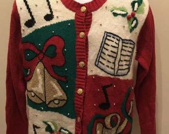 Vtg 1980s 1990s Ugly Tacky Christmas Sweater Size Small Laura Gayle Musical Gold Button Choir Bells, Craft, Christmas Party, Grandmother