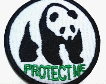Cutie Panda Protect Me (6 x 6 cm) Embroidered Applique Kids Iron on Patch (FL)