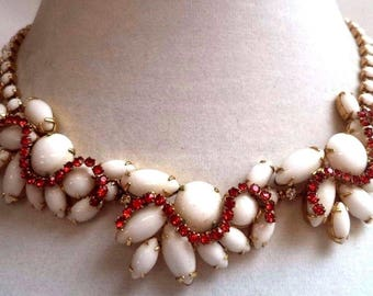 Stunning And Unusual Milk Glass And Red Rhinestone Necklace ~  Beautiful Vintage Jewelry