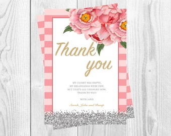 Printable Baby Shower Thank You Card, Baby Girl, Baby Shower, Floral, DIGITAL DOWNLOAD