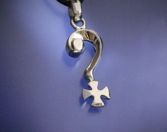 Question Mark Iron Cross Pendant Sterling Silver