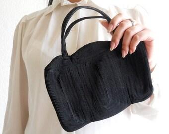 vintage 1940s scalloped black corde purse ***  PRICE already MARKED DOWN 30% ***