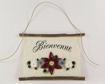 Bienvenue, French Welcome, Paper Quilled Welcome Sign, 3D Quilled Banner, Red Grey White Decor, French Gift, Rustic Art, French Sign