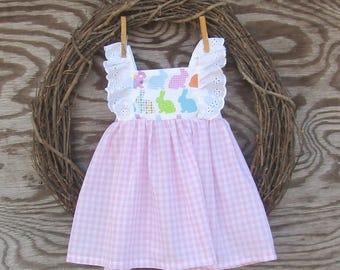 Little Girls Easter Dress,  Easter Bunny Dress, Pink Gingham dress, White Eyelet Dress
