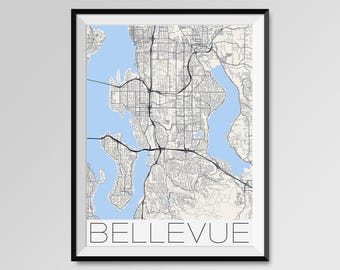 BELLEVUE Washington Map, Bellevue City Map Print, Bellevue Map Poster, Bellevue Wall Map Art, Bellevue gift, Custom city maps, Personalized