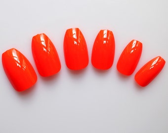 24 Coffin False Nails, Color Nails, High Quality Artificial Nail Tips w/Adhesive Tabs - Red Orange #FREE SHIPPING