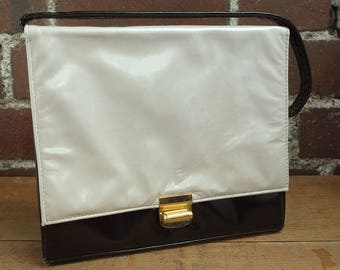 Vintage 60s Frame Handbag Black and White