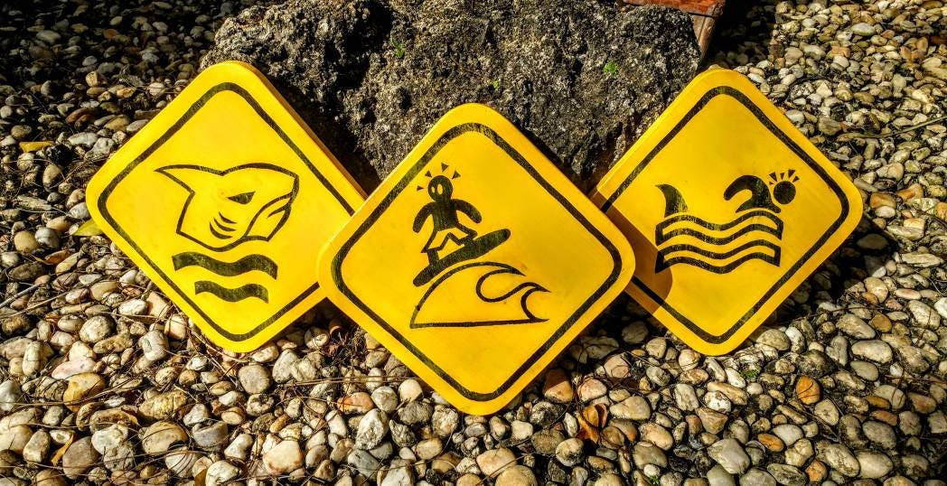 Shark warning surf sign set of 3 funny wood distressed beach surfer ...