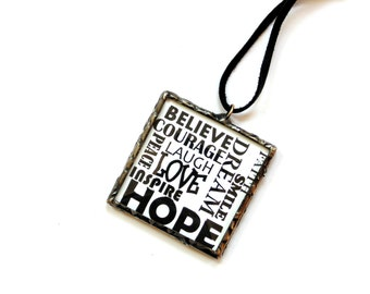 Inspirational ornament, motivational, stained glass, black white, encouragement, typography good vibes, positive influence hope love believe