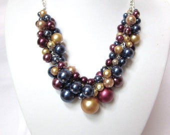 Pearl Cluster Necklace in Navy, Wine and Gold - Chunky, Choker, Bib, Necklace, Wedding, Bridal, Bridesmaid, Prom, SRAJD, Custom Made