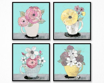 Flower Art Print Set - Set of Four Prints, Printable Artwork, Kitchen Wall Art Set , Turquoise and Pink  Feminine Wall Art , Pink Plant Art