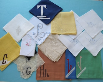 15 Hankies Assorted Monograms Hand Embroidered Linen Cotton White & Coloured Vintage c. 1930s 1940s Handkerchief Hanky Destash