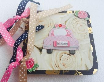 Wedding Album, Mini Scrapbook Album, 4x4 scrapbook, Mini Photo Album, Chipboard Scrapbook, Bridal Shower Gifts, Wedding Gifts