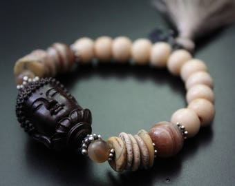 SALE Originally 86.00 Now 68.00 - Ebony wood Buddha bracelet gemstone boho tassel bracelet spiritual Zen neutral colors summer bracelet