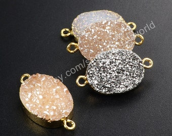 Wholesale Gold Plated Oval Natural Titanium Agate Druzy Geode Connector Double Bails AB White Champagne Silver Drusy Gemstone Charms G1073