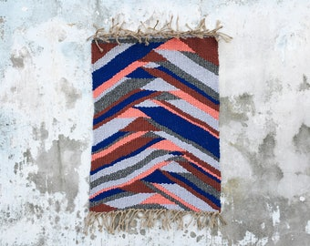 LOKA - Woven rug handmade - recycled cotton - organic jute - 60 X 100 CM - Slowmade in France by two hands