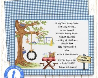 Park Invitation | Family Reunion | Printable Editable Digital PDF File | Templett | PNI112DIY