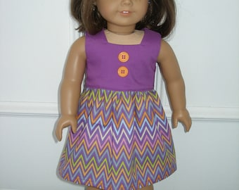 Dress for 18 inch dolls  - purple and multi chevron with orange shoes