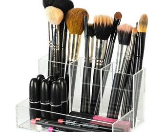 Acrylic Clear Brush Holder Makeup Organizer- Holds brushes, lipstick, liners, mascara and more