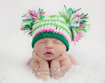 """READY St Patrick's Day Baby Hat Green & White Striped with Pink and Big """"Puffs"""""""