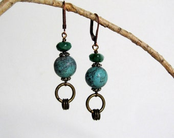 Turquoise and Aventurine Earrings - Turquoise Dangle Earrings - Ethnic Earrings - Boho Jewelry - Turquoise with Bronze Hoops - Boho Earrings