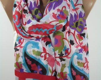 Mothers Day Gift For Her Floral Scarf Soft Cotton Scarf  Accessories Sarong Pareo Beach Wrap      For Wife Gift For Mom Holiday