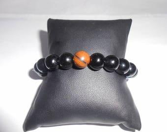 Mens bracelet obsidian and Tiger eye 10 mm beads