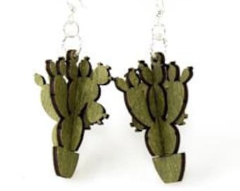 Barreled Cactus 3D Earrings - Made from Reforested Wood