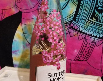 Hand Painted Wine Bottle - Ocean Sunset - Cherry Blossom